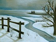 Snow Pastels Originals - Winter by the Sea by Tiffany Budd