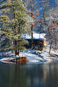 Cabin Wall Prints - Winter Cabin - Only Winter Shot Ever Captured - Artist Cris Hayes Print by Cris Hayes