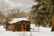 Log Cabins Digital Art Prints - Winter Cabin 2 Print by Ernie Echols