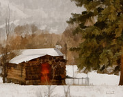 Log Cabins Digital Art Prints - Winter Cabin Print by Ernie Echols