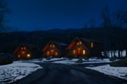 Gatlinburg Tennessee Digital Art Prints - Winter Cabins Print by Bill