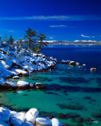 Calm Water Acrylic Prints - Winter Calm Lake Tahoe Acrylic Print by Vance Fox