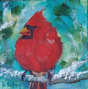 Cardinal In Snow Prints - Winter Cardinal Print by Donna Tuten