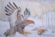 Escape Drawings Prints - Winter Chase Print by Yvonne Johnstone