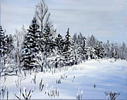 Winter Trees Painting Metal Prints - Winter Metal Print by Cher Devereaux