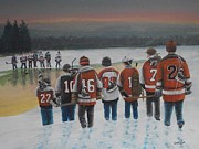 Youth Hockey Painting Metal Prints - Winter Classic 2012 Metal Print by Ron  Genest