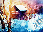 Barn Print Prints - Winter Color Print by Hanne Lore Koehler