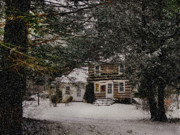 Log Cabin Art Mixed Media Prints - Winter Cottage Print by Gordon Beck