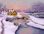 Snow Scenes Digital Art Prints - Winter Cottage Print by Sena Wilson