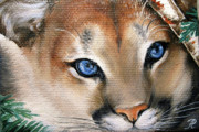 Regard Metal Prints - Winter cougar Metal Print by Larissa Prince