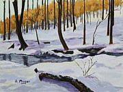 Snowscape Paintings - Winter Creek by Alan Mager