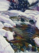 Shimmering Paintings - Winter Creek by Zanobia Shalks