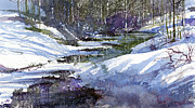 Winter Landscape Paintings - Winter Creekbed by Andrew King