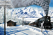Steam Dreams Posters - Winter Crossing Poster by Dwayne  Davis