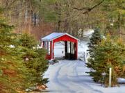 Covered Bridge Metal Prints - Winter Crossing Metal Print by Evelina Kremsdorf