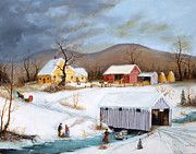 Currier And Ives Paintings - Winter Crossing by Joseph Holodook