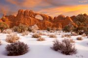 National Park Photos - Winter Dawn at Arches National Park by Utah Images