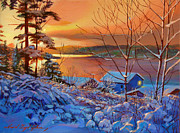 Winter Landscapes Paintings - Winter Day Begins by David Lloyd Glover