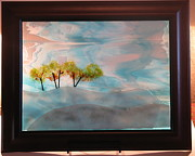 Fused Glass Art Framed Prints - Winter day Framed Print by Lisa Kohn