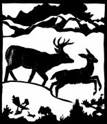 Mountain Scene Drawings Prints - Winter Deer linoleum demo for students Print by Dawn Senior-Trask