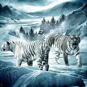 The Tiger Digital Art Metal Prints - Winter Deuces Metal Print by Lourry Legarde