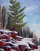 Snowy Trees Paintings - Winter by Diane Daigle