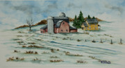 New England Snow Scene Painting Posters - Winter Down On The Farm Poster by Charlotte Blanchard