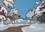 Snow Drifts Painting Posters - Winter Drive Poster by Sandy Tracey