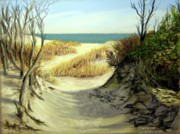 Sea Shore Pastels Framed Prints - Winter Dunes Framed Print by Joan Swanson