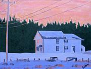 Farmhouse Paintings - Winter Dusk by Laurie Breton