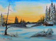 Winterscape Painting Originals - Winter Dusk by Remegio Onia