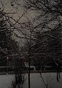 Rural Snow Scenes Digital Art Prints - Winter Dusk Print by Rob Hans