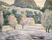 Mountain Snow Landscape Paintings - Winter by Ernest Lawson