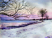 Scapes Framed Prints - Winter Evening in Racine Framed Print by Maria Varga-Hansen
