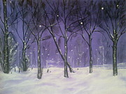 Snow And Night Sky Framed Prints - Winter evening  Framed Print by Irina Astley
