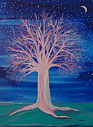 Fantasy Tree Art Painting Posters - Winter Fantasy Tree Poster by First Star Art