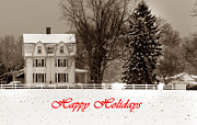 Holiday Greetings Posters - Winter Farm Happy Holidays Poster by Skip Willits