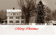 Holiday Greetings Posters - Winter Farm Merry Christmas Poster by Skip Willits