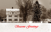 Holiday Greetings Posters - Winter Farm Seasons Greetings Poster by Skip Willits