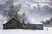 Storm Clouds Digital Art Prints - Winter Farm Print by Steve Harrington