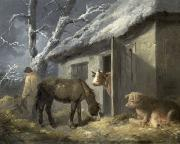 Winter Scenes Rural Scenes Painting Framed Prints - Winter Farmyard Framed Print by George Morland