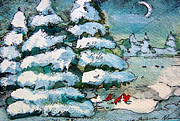 Pine Trees Mixed Media - Winter Fest by Mindy Newman