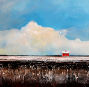 Red Barn Paintings - Winter Fields by Toni Grote