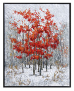 Red Leaves Tapestries - Textiles - Winter Flame 4 by Lorraine Roy