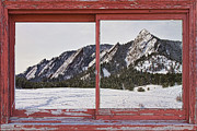 Flatirons Posters - Winter Flatirons Boulder Colorado Red barn Picture Window Frame  Poster by James Bo Insogna