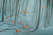 Snowy Trees Paintings - Winter Forest by Natasha Denger