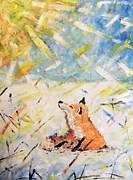 Cute Mixed Media Originals - Winter Fox by Zbigniew Rusin