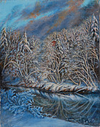 Freeze Pastels Prints - Winter Freeze Print by Ann Sylvia Lehn