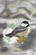 Chickadee Drawings Prints - Winter Freeze Print by Don  Gallacher