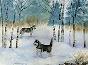 Husky Posters - Winter Frolic Poster by Sharon Nummer